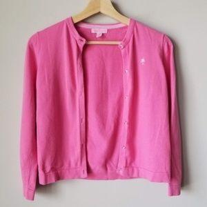 Lilly Pulitzer Girls Pink Cardigan Sweater 14/16